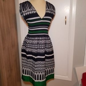 Max Edition Blue and Green Raunched V Neck Dress